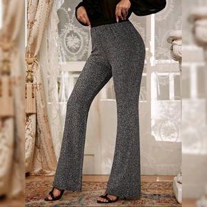 Metallic Silver Glitter Bootcut Pants